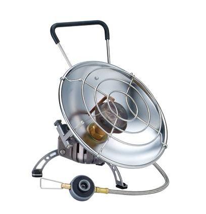 Обогреватель газовый Kovea Fire Ball KH-07102457Газовый обогреватель Kovea KH-0710 Fire Ball - уникальный портативный газовый обогреватель со шлангом с возможностью приготовления пищи. Туристический газовый обогреватель зажигается с помощью пьезоподжига. В приборе предусмотрено два положения отражателя: наклонное - для обогрева и горизонтальное - для приготовления пищи. Оба положения жестко фиксируются крепежным болтом, при этом исключается возможность изменения положения отражателя и опрокидывания кастрюли при готовке. Сетка отражателя достаточно частая, чтобы готовить еду или кипятить воду даже в кружке или турке. Для более стабильной работы газового обогревателя на холоде в конструкции газового обогревателя предусмотрена Anti-Flare System - система предварительного подогрева газа. Это очень удобная модель газового обогревателя для зимней рыбалки, когда одновременно с обогревом рыболовного укрытия в перерывах между клевом вы сможете вскипятить еще чашку чая или тут же поджарить и съесть только что пойманную рыбу...