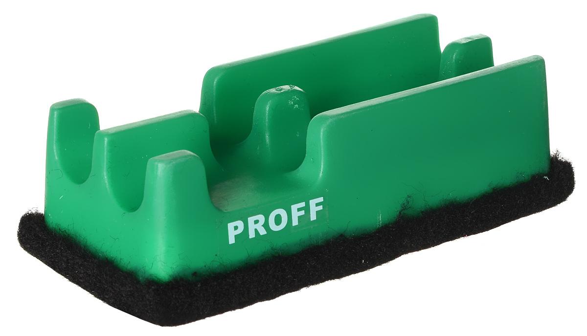 Proff Губка для офисных досок цвет зеленыйPF-12404_зеленыйГубка для офисных досок Proff - неотъемлемый атрибут любого офиса. Она предназначена специально для маркерных и меловых досок. Губка имеет прямоугольную форму. Верхняя ее часть изготовлена из пластика зеленого цвета и оснащена двумя отсеками-держателями для маркеров. Стирающий элемент выполнен из войлока.