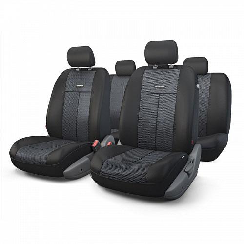 Авточехлы Autoprofi TT, цвет: черный, темно-серый, 9 предметов. TT-902M BK/BKTT-902M BK/BKАвтомобильные чехлы Autoprofi TT изготавливаются из высококачественного полиэстера со вставками из поролона, обеспечивающего сцепление с сиденьем. Мягкие чехлы являются отличным дополнением салона любого автомобиля. Изделия придают автомобильному интерьеру современные и солидные черты. Универсальная конструкция подходит для большинства автомобильных сидений. Подходят для автомобилей с боковыми подушками безопасности (распускаемый шов). Специальные молнии, расположенные в чехлах спинки заднего ряда, позволяют использовать чехлы на автомобилях с различными пропорциями складывания заднего ряда. Комплектация: 5 подголовников, 2 чехла сидений переднего ряда, 1 спинка заднего ряда, 1 сиденье заднего ряда.
