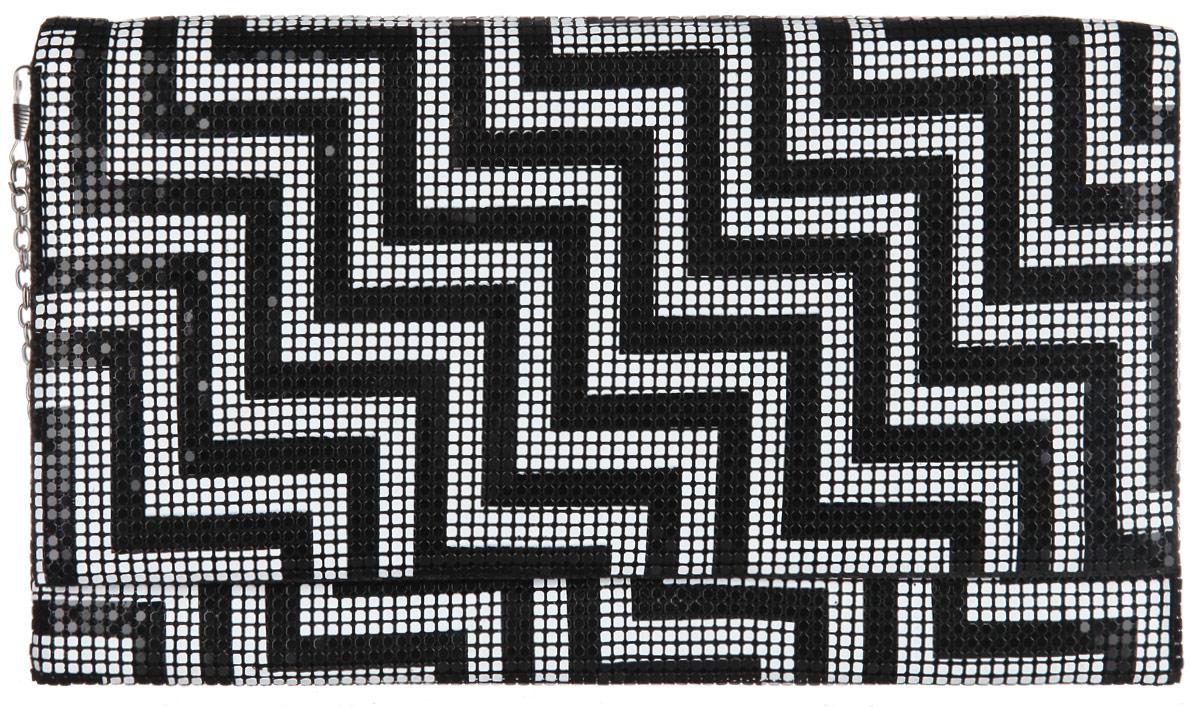 Клатч женский Модные истории, цвет: черный, белый. 3/0224
