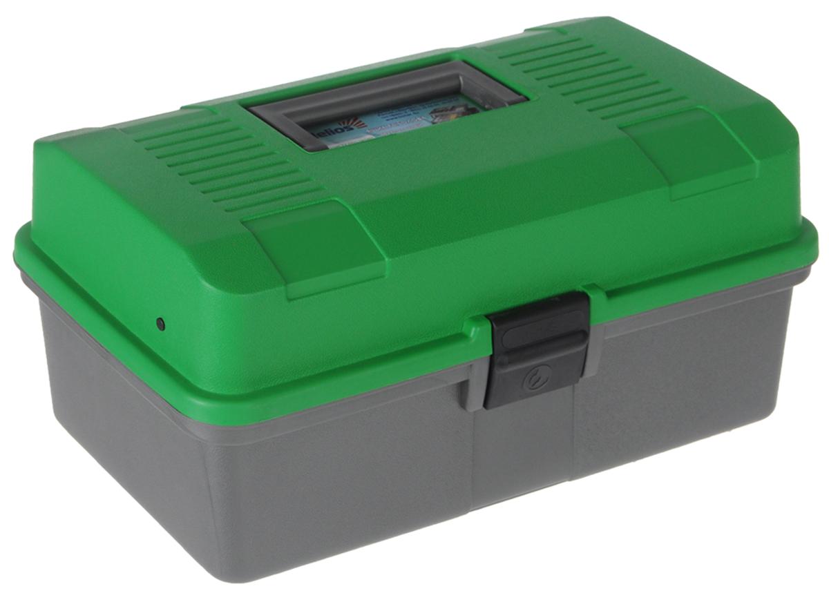 Ящик рыболова Helios, цвет: зеленый, серый, 34 см х 20 см х 16 смH009Удобный и вместительный ящик Helios с двумя выдвижными полками отлично подойдет для переноски и хранения различной рыболовной оснастки: поплавков, приманок и другой полезной мелочи. Выполнен из ударопрочного полипропилена. Ящик оснащен двумя полками с несколькими отделениями. На дно можно положить 1-3 спиннинговых катушек. Защелка предотвратит выпадение содержимого.