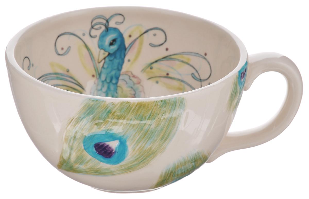 Кружка Fitz and Floyd Павлин, цвет: белый, бирюзовый, зеленый, 450 мл20-261Кружка Fitz and Floyd Павлин изготовлена из высококачественной керамики и декорирована изображением павлина. Такая кружка прекрасно подойдет для горячих и холодных напитков. Она дополнит коллекцию вашей кухонной посуды и будет служить долгие годы. Можно мыть в посудомоечной машине и СВЧ. Объем кружки: 450 мл. Диаметр кружки (по верхнему краю): 12,5 см. Высота стенки кружки: 7,3 см.