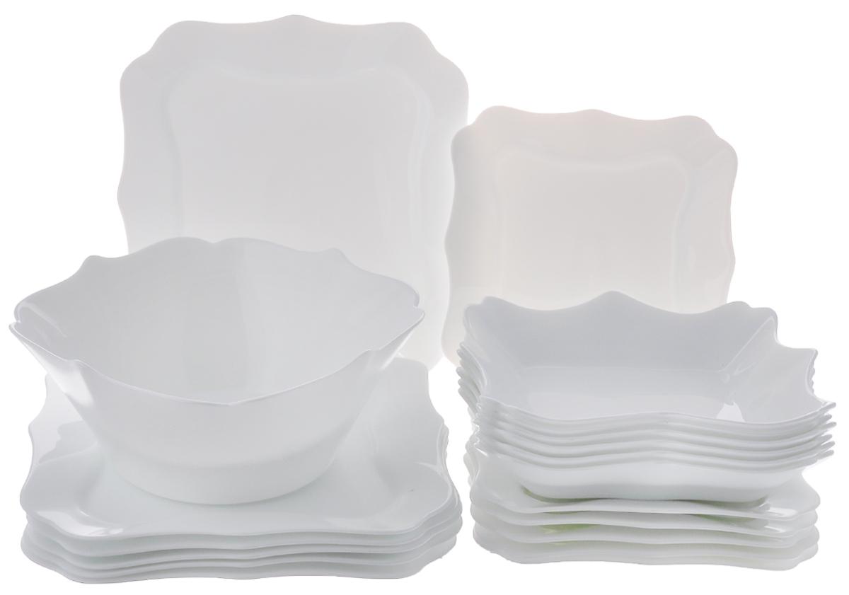 Набор столовый Luminarc Authentic, цвет: белый, 19 предметовE6197Столовый набор Luminarc Authentic состоит из 6 суповых тарелок, 6 обеденных тарелок, 6 десертных тарелок и глубокого салатника. Изделия выполнены из ударопрочного стекла, имеют классический монохромный дизайн и красивую квадратную форму с резными краями. Посуда отличается прочностью, гигиеничностью и долгим сроком службы, она устойчива к появлению царапин и резким перепадам температур. Такой набор прекрасно подойдет как для повседневного использования, так и для праздников или особенных случаев. Столовый набор Luminarc - это не только яркий и полезный подарок для родных и близких, это также великолепное дизайнерское решение для вашей кухни или столовой. Изделия можно мыть в посудомоечной машине и использовать в СВЧ-печи. Размер суповой тарелки: 22 см х 22 см. Размер обеденной тарелки: 26 см х 26 см. Размер десертной тарелки: 20,5 см х 20,5 см. Размер салатника: 24 см х 24 см х 10 см.