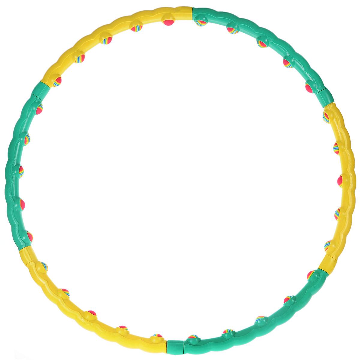 Обруч массажный Хула-хуп с неопреновыми шариками, разборныйКомфортМассажный обруч Хула-хуп изготовлен из пластика. Он имеет 30 мягких неопреновых шариков, которые оказывают массажный эффект. Форма обруча стимулирует акупунктурные точки поясницы и обеспечивает массирующий эффект, помогает избавиться от излишнего веса. Обруч помогает сохранить тело подтянутым и стимулирует работу кишечника. Характеристики: Материал:пластик. Диаметр (внутренний):90 см. Размер упаковки:53 см х 23,5 х 10 см. Производитель:Тайвань. Артикул:HH-01.