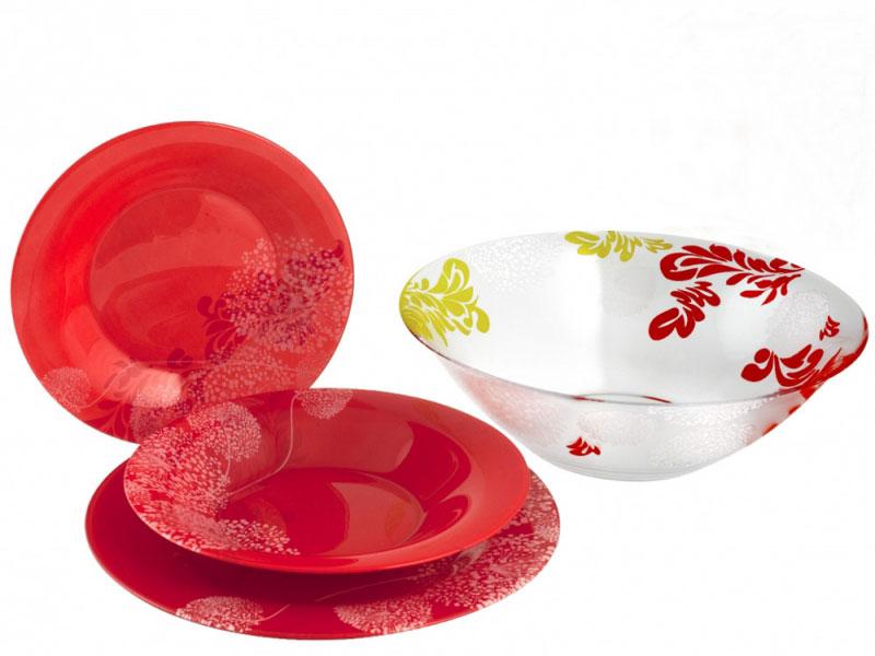Набор столовой посуды Luminarc Piume, 19 предметовJ7547Набор Luminarc Piume состоит из 6 суповых тарелок, 6 обеденных тарелок, 6 десертных тарелок и глубокого салатника. Изделия выполнены из ударопрочного стекла, имеют яркий дизайн с рисунком по краям и классическую круглую форму. Посуда отличается прочностью, гигиеничностью и долгим сроком службы, она устойчива к появлению царапин и резким перепадам температур. Такой набор прекрасно подойдет как для повседневного использования, так и для праздников или особенных случаев. Набор столовой посуды Luminarc Piume - это не только яркий и полезный подарок для родных и близких, а также великолепное дизайнерское решение для вашей кухни или столовой. Можно мыть в посудомоечной машине и использовать в микроволновой печи. Диаметр суповой тарелки: 21 см. Высота суповой тарелки: 3 см. Диаметр обеденной тарелки: 24,5 см. Высота обеденной тарелки: 1,5 см. Диаметр десертной тарелки: 20 см. Высота десертной тарелки: 1...