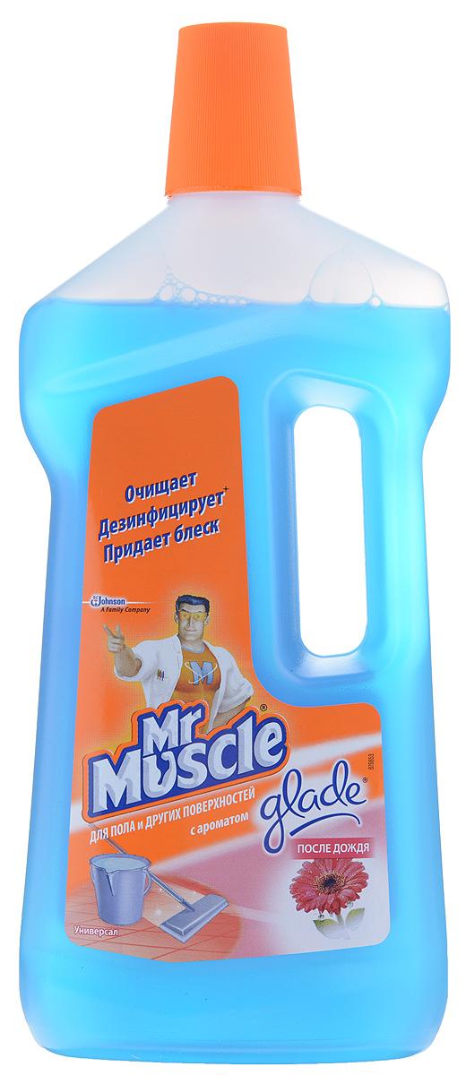 Чистящее средство для пола и других поверхностей Mr. Muscle Универсал, после дождя, 750 мл68/5/2Чистящее средство для пола и других поверхностей Mr. Muscle Универсал сочетает в себе моющую силу Mr. Muscle и восхитительные ароматы Glade. Быстро и эффективно удаляет грязь, не оставляя разводов. Подходит для мытья деликатных поверхностей: паркета, ламината, лакированных поверхностей, натурального камня и т.д. Мгновенный результат - сияющая чистота, свежесть и приятный аромат во всем доме. Идеально подходит для мытья полов, кафеля, кухонных столешниц, раковин и любых других поверхностей в вашем доме.Состав: вода, н-ПАВ, отдушка, алкилдиметилбензиламмоний хлорид, консервант, краситель. Товар сертифицирован.