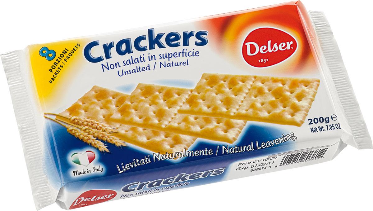 Delser крекеры без соли0120710Delser - удобные, индивидуально упакованные крекеры, которые можно взять куда захочется. Отличная альтернатива хлебу. Крекеры готовят из полезных и натуральных ингредиентов. Кроме того, крекеры настолько ароматные и вкусные благодаря 24 часовой натуральной закваске.Delser не использует генномодифицированные продукты, гидрогенизированные жиры и транс-жиры, красители и консерванты. Постоянно ищет новые ингредиенты и рецептуры, при этом не забывая свою историю и не изменяя своим традициям, что позволяет удовлетворять вкусы потребителей уже много лет.