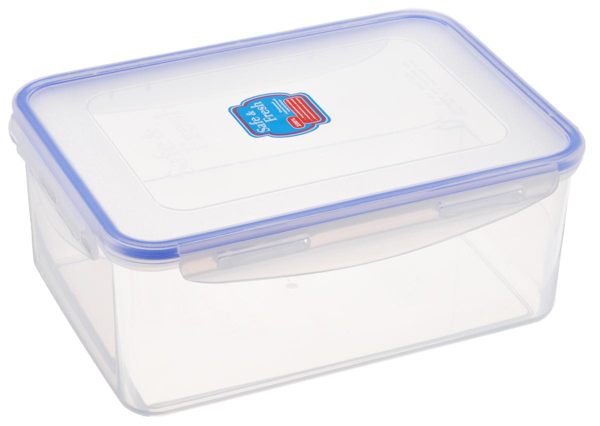 Контейнер пищевой Tek-a-Tek Safe & Fresh, цвет: прозрачный, синий, 2,3 лSF5-1Пищевой контейнер Tek-a-Tek Safe & Fresh выполнен из высококачественного пластика, устойчивого к высоким температурам. Контейнер предназначен для хранения продуктов питания, а также для замораживания и размораживания в микроволновой печи. Изделие оснащено четырехсторонними петлями-замками и силиконовой прокладкой на внутренней стороне крышки, что позволяет сохранять герметичность. Изделие абсолютно нетоксично при любом температурном режиме. Можно использовать в посудомоечной машине до +120°С, в микроволновой печи (без крышки), в морозильной камере -40°С.