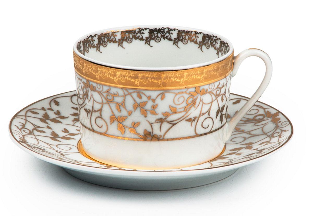 Mimosa Lierre Or 947, набор кофейных пар (6шт), цвет: белый с золотом539 012 947Кофейная пара 120 мл * 6 штук/ 12 предметов