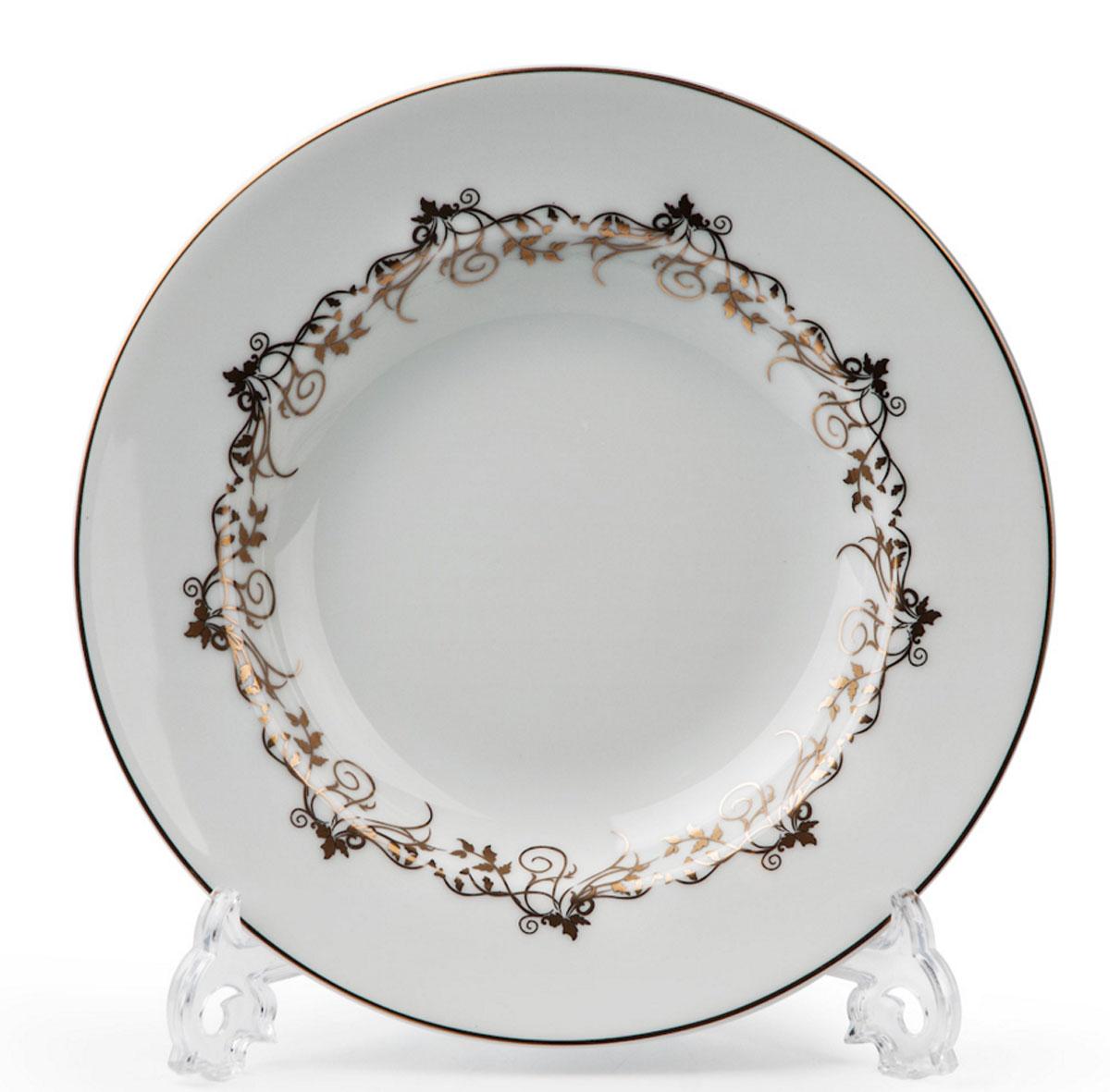 Mimosa Lierre Or 947, набор тарелок глубоких (6шт), цвет: белый с золотом539 124 947В наборе глубокая тарелка 6 штук