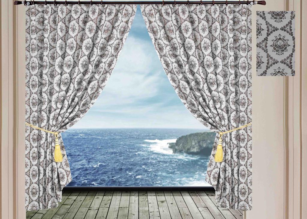 Комплект штор SL, на ленте, цвет: светло-серый, высота 270 см. 10242S03301004Роскошный комплект штор SL изготовлен из мягкого бархатистого полиэстера с жаккардовым рисунком. Комплект состоит из двух плотных полотен, благодаря чему они надежно защищают комнату от солнечного света днем и от уличного освещения вечером. По верхнему краю прошита плотная широкая шторная лента для крючков. Рекомендации по уходу: - Ручная или машинная стирка при температуре не выше 40°С. - Разрешено гладить при максимальной температуре 110°С. - При стирке не использовать средства содержащие отбеливатели. - Химическая чистка запрещена.