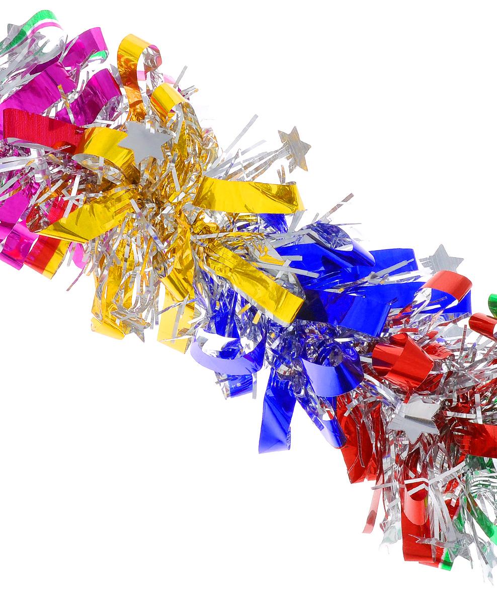 Мишура новогодняя EuroHouse Звездочки, цвет: фуксия, синий, зеленый, диаметр 8 см, длина 200 смNLED-405-0.5W-MНовогодняя мишура EuroHouse Звездочки, выполненная из ПЭТ (полиэтилентерефталата), поможет вам украсить свой дом к предстоящим праздникам. А новогодняя елка с таким украшением станет еще наряднее. Мишура армирована, то есть имеет проволоку внутри и способна сохранять придаваемую ей форму. Новогодней мишурой можно украсить все, что угодно - елку, квартиру, дачу, офис - как внутри, так и снаружи. Можно сложить новогодние поздравления, буквы и цифры, мишурой можно украсить и дополнить гирлянды, можно выделить дверные колонны, оплести дверные проемы.