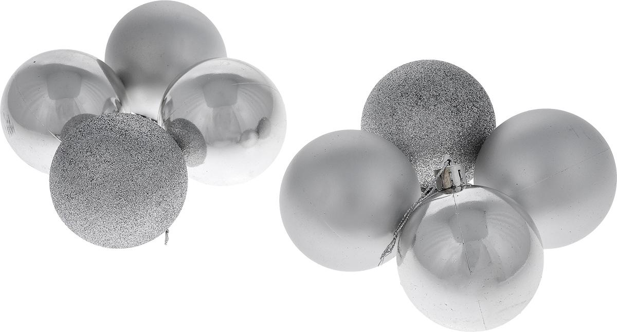 Набор новогодних подвесных украшений Euro House Everyday Holiday, цвет: серебристый, диаметр 6 см, 8 штЕХ7490_серебренныйНабор подвесных украшений Euro House Everyday Holiday прекрасно подойдет для праздничного декора новогодней ели. Набор состоит из 8 пластиковых украшений, выполненных в виде шаров. Одни из шаров покрыты блестками, другие имеют матовую поверхность, третьи - глянцевую поверхность. Для удобного размещения на елке для каждого украшения предусмотрена петелька, выполненная из текстиля. Елочная игрушка - символ Нового года. Она несет в себе волшебство и красоту праздника. Создайте в своем доме атмосферу веселья и радости, украшая новогоднюю елку нарядными игрушками, которые будут из года в год накапливать теплоту воспоминаний. Откройте для себя удивительный мир сказок и грез. Почувствуйте волшебные минуты ожидания праздника, создайте новогоднее настроение вашим дорогим и близким.