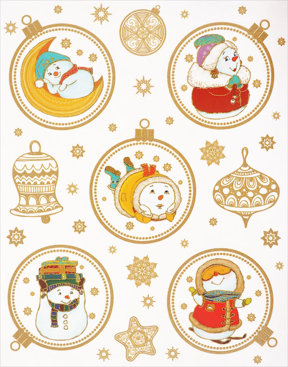 Новогоднее оконное украшение Феникс-Презент Веселые снеговики. 3861638616Новогоднее оконное украшение Феникс-Презент Веселые снеговики поможет украсить дом к предстоящим праздникам. На одном листе расположены наклейки в виде елочных игрушек и забавных снеговиков, декорированных блестками. Наклейки изготовлены из ПВХ. С помощью этих украшений вы сможете оживить интерьер по своему вкусу, наклеить их на окно, на зеркало. Новогодние украшения всегда несут в себе волшебство и красоту праздника. Создайте в своем доме атмосферу тепла, веселья и радости, украшая его всей семьей. Размер листа: 30 см х 38 см. Размер самой большой наклейки: 13,5 см х 11,5 см. Размер самой маленькой наклейки: 1,4 см х 1,4 см.