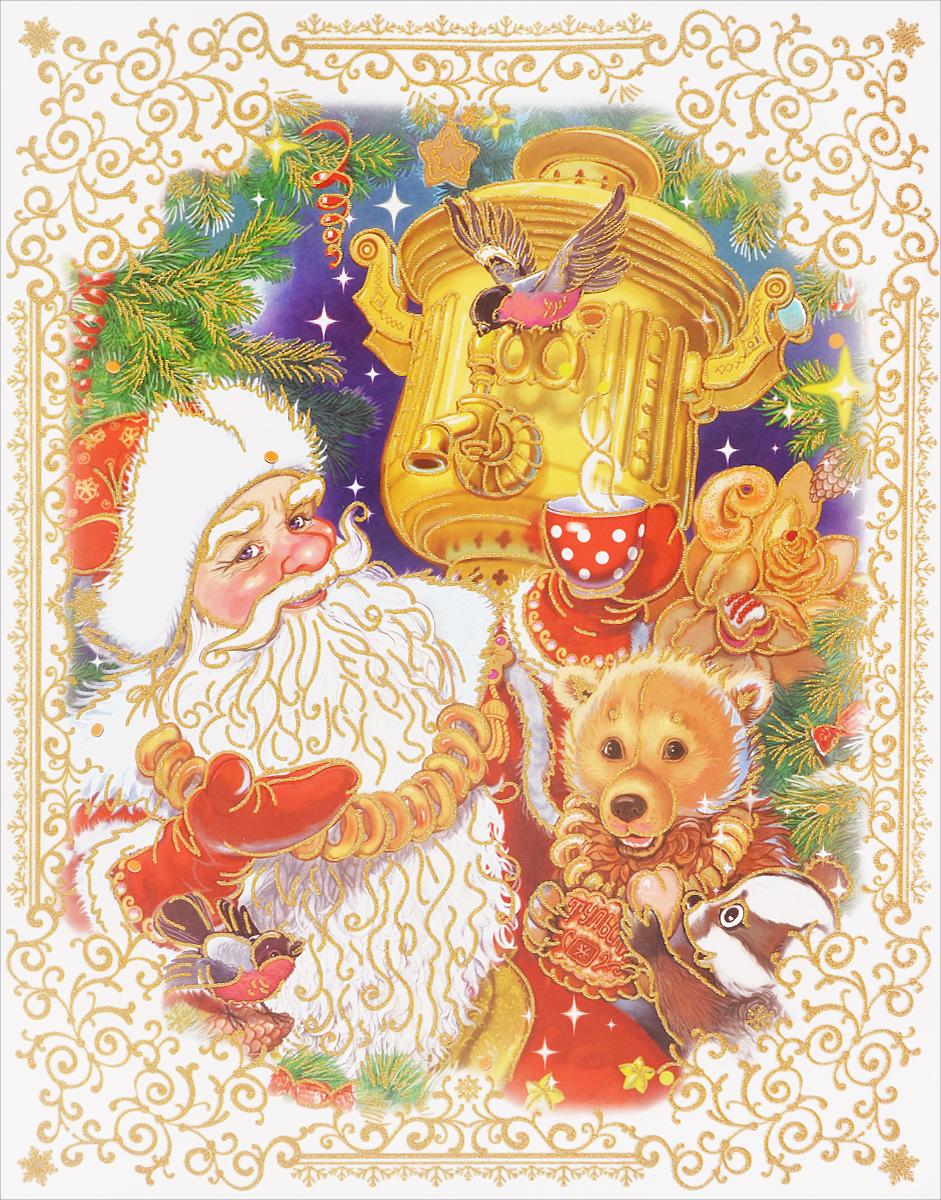 Новогоднее оконное украшение Феникс-Презент Дед Мороз с самоваром, 30 см х 38 см38627Новогоднее оконное украшение Феникс-Презент Дед Мороз с самоваром поможет украсить дом к предстоящим праздникам. Яркий и красочный рисунок нанесен на прозрачную пленку и декорирован блестками. С помощью этого украшения вы сможете оживить интерьер по своему вкусу, наклеить его на окно, на зеркало. Новогодние украшения всегда несут в себе волшебство и красоту праздника. Создайте в своем доме атмосферу тепла, веселья и радости, украшая его всей семьей.