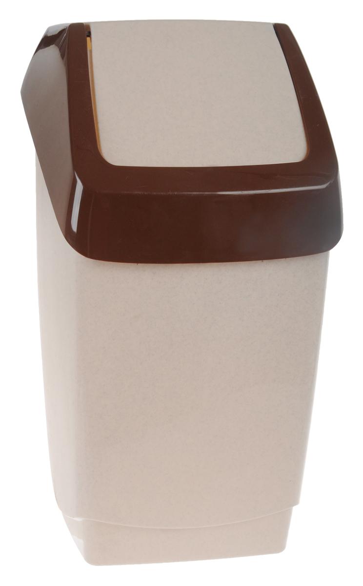 Контейнер для мусора Idea Хапс, цвет: коричневый мрамор, 15 л106-029Контейнер для мусора Idea Хапс изготовлен из прочного полипропилена (пластика). Контейнер снабжен удобной съемной крышкой с подвижной перегородкой. Благодаря лаконичному дизайну такой контейнер идеально впишется в интерьер и дома, и офиса.