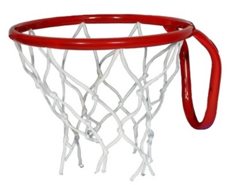 Кольцо баскетбольное №5 с сеткой, М-Торг, 38 см, красный
