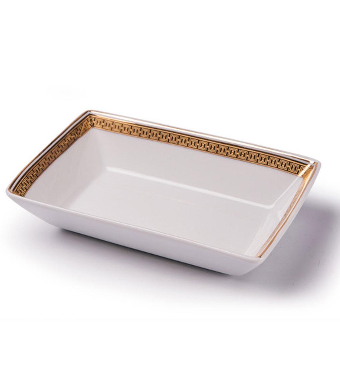 Kyoto 1555 Блюдо прямоугольное, Д13х 9 золото, цвет: белый с золотом710813 1555Блюдо прямоугольное 13 х 9 см Материал: фарфор: цвет: белый с золотом Серия: KYOTO