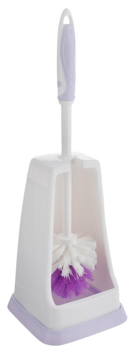 Комплект для туалета Banat, цвет: белый, сиреневый730228_белый, сиреневыйНапольный комплект для туалета Banat состоит из ершика и подставки. Подставка с устойчивым квадратным дном эстетично закрывает ерш, широкое отверстие позволяет ему просушиваться. Ершик оснащен жесткой щетиной, которая эффективно удаляет загрязнения. Удобная рукоятка снабжена противоскользящими резиновыми вставками. В подвешенном виде ворс не сминается во время хранения. Напольный комплект для туалета прекрасно дополнит интерьера уборной и послужит функционально. Размер подставки: 13 см х 13 см х 22 см. Длина ершика: 34 см. Длина ворса: 2,5 см.