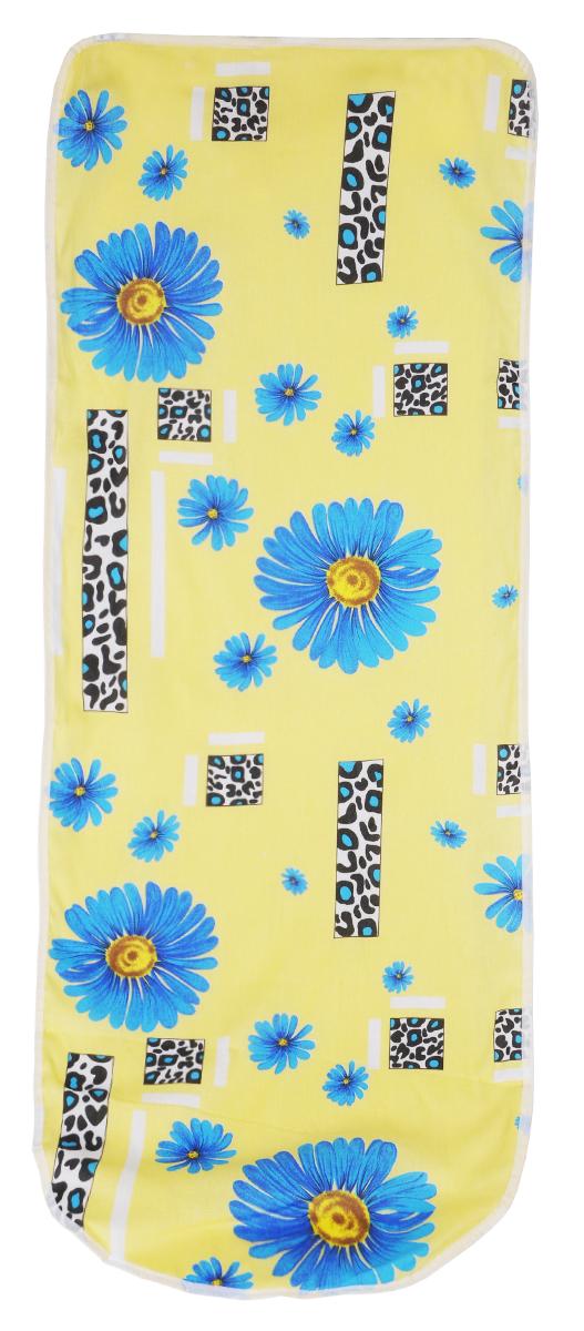 Чехол для гладильной доски Detalle, цвет: желтый, синий, 125 х 47 смЕ1301_желтый, синий ромашкиЧехол для гладильной доски Detalle, выполненный из хлопка с подкладкой из мягкого войлокообразного полотна (ПЭФ), предназначен для защиты или замены изношенного покрытия гладильной доски. Чехол снабжен стягивающим шнуром, при помощи которого вы легко отрегулируете оптимальное натяжение чехла и зафиксируете его на рабочей поверхности гладильной доски. Из войлокообразного полотна вы можете вырезать подкладку любого размера, подходящую именно для вашей доски. Этот качественный чехол обеспечит вам легкое глажение. Он предотвратит образование блеска и отпечатков металлической сетки гладильной доски на одежде. Войлокообразное полотно практично и долговечно в использовании. Размер чехла: 125 см x 47 см. Максимальный размер доски: 120 см х 42 см. Размер войлочного полотна: 130 см х 52 см.
