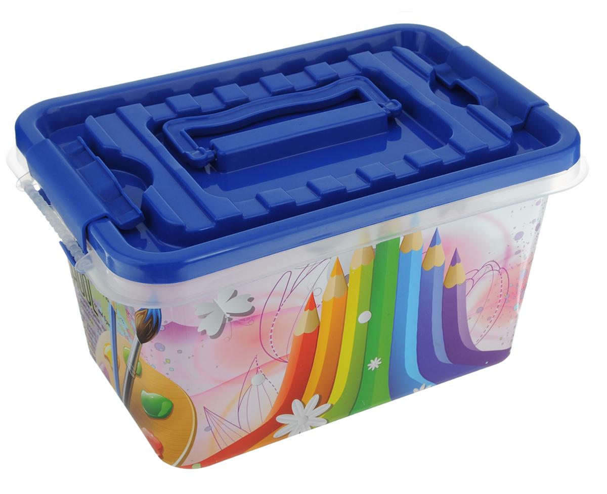 Контейнер для хранения Альтернатива, с защелкивающейся крышкой, цвет: синий, розовый, 4 лM3218_синий/карандашиКонтейнер Альтернатива выполнен из пластика. В нем удобно хранить различные бытовые вещи, в том числе школьные принадлежности или медикаменты. Контейнер плотно закрывается крышкой с двумя защелками. Для удобства переноски сверху имеется ручка. Объем: 4 л.