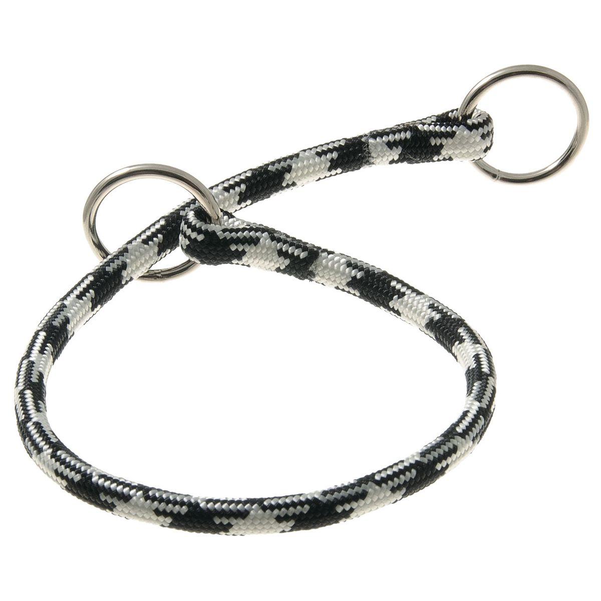 Ошейник-удавка с 2-я кольцами круглый Арлекин 8 мм*40 см (черно-белый)76-2147