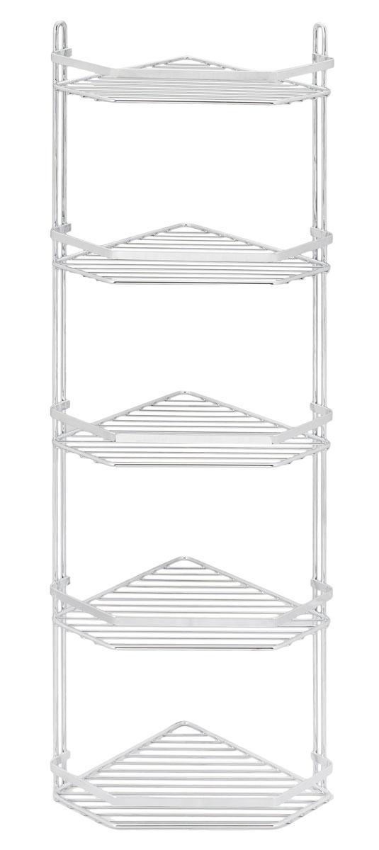 Полка подвесная Duschy Modern, 5-ярусная, угловая078-00Подвесная полка Duschy Modern выполненная из стали и покрытая специальным, влагозащитным полимерным покрытием, сэкономит место в ванной комнате. Полка подвешивается с помощью 2-х саморезов (входят в комплект). Она пригодится для хранения различных принадлежностей, которые всегда будут под рукой. Благодаря компактным размерам полка впишется в интерьер вашего дома и позволит вам удобно и практично хранить предметы домашнего обихода. Размер яруса: 27 х 20 х 4 см. Размер: 27 х 20 х 87 см.