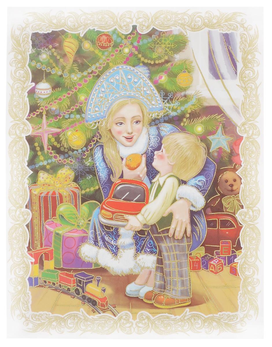 Новогоднее оконное украшение Феникс-презент Снегурочка с малышом, 30 см х 38 см38629Новогоднее оконное украшение Феникс-презент Снегурочка с малышом поможет украсить дом к предстоящим праздникам. Яркое изображение, украшенное блестками, нанесено на прозрачную клейкую пленку. С помощью такого украшения вы сможете оживить интерьер по вашему вкусу: наклеить его на окно, на зеркала и даже на двери. Новогодние украшения всегда несут в себе волшебство и красоту праздника. Создайте в своем доме атмосферу тепла, веселья и радости, украшая его всей семьей.