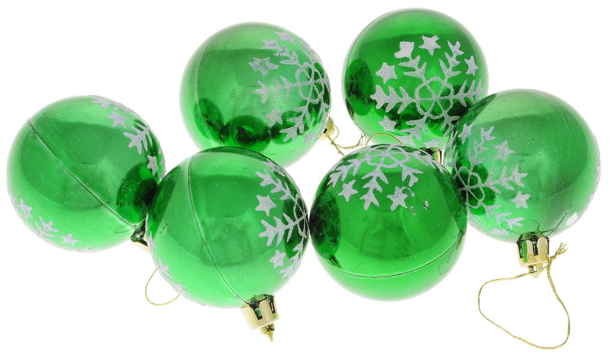 Набор новогодних подвесных украшений Euro House, цвет: зеленый, серебристый, диаметр 6 см, 6 шт. ЕХ 9224NLED-405-0.5W-MНабор новогодних подвесных украшений Euro House прекрасно подойдет для праздничного декора новогодней ели. Набор состоит из 6 пластиковых украшений в виде шаров, оформленных ярким рисунком снежинок и блестками. Для удобного размещения на елке для каждого украшения предусмотрена петелька, выполненная из текстиля.Елочная игрушка - символ Нового года. Она несет в себе волшебство и красоту праздника. Создайте в своем доме атмосферу веселья и радости, украшая новогоднюю елку нарядными игрушками, которые будут из года в год накапливать теплоту воспоминаний. Откройте для себя удивительный мир сказок и грез.Почувствуйте волшебные минуты ожидания праздника, создайте новогоднее настроение вашим дорогим и близким.