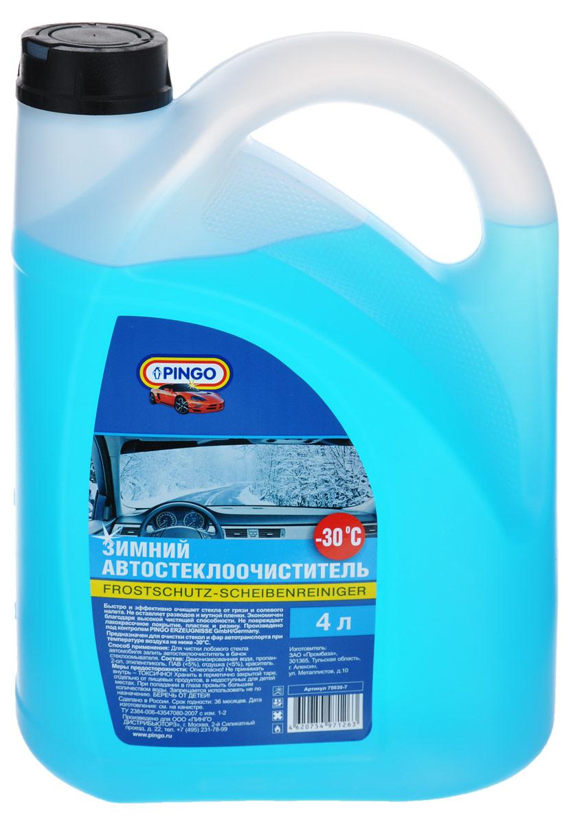 Автостеклоочиститель зимний Pingo, -30°С, 4 л75030-7Автостеклоочиститель Pingo быстро и эффективно очищает стекла от грязи и солевого налета. Не оставляет разводов и мутной пленки. Экономичен благодаря высокой чистящей способности. Не повреждает лакокрасочное покрытие, пластик и резину. Предназначен для очистки стекол и фар автотранспорта при температуре воздуха не ниже -30°С. Состав: деионизированная вода, пропан-2-ол, этиленгликоль, ПАВ ( Товар сертифицирован.
