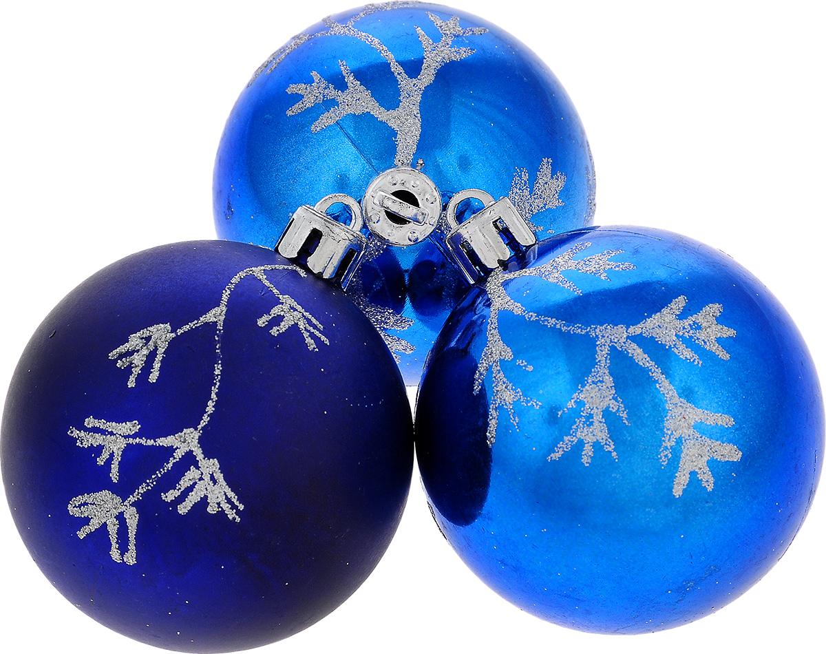 Набор новогодних подвесных украшений EuroHouse Веточки, цвет: синий, серебристый, диаметр 6 см, 3 штЕХ 9267Набор новогодних подвесных украшений EuroHouse прекрасно подойдет для праздничного декора новогодней ели. Набор состоит из 2 пластиковых украшений в виде глянцевых шаров и 1 матового. Для удобного размещения на елке для каждого изделия предусмотрена текстильная петелька. Елочная игрушка - символ Нового года. Она несет в себе волшебство и красоту праздника. Создайте в своем доме атмосферу веселья и радости, украшая новогоднюю елку нарядными игрушками, которые будут из года в год накапливать теплоту воспоминаний.