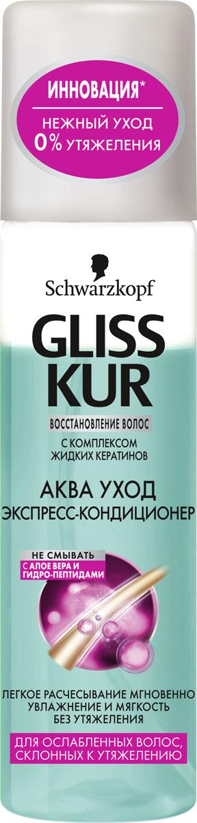 GLISS KUR Экспресс-Кондиционер Аква Уход, 200 мл926095120Ультралегкий уход от Gliss Kur! 100% восстановления, 0% утяжеления. Придает мгновенное легкое расчесывание, увлажнение и мягкость. Невесомая формула с АЛОЭ ВЕРА И ГИДРО-ПЕПТИДАМИ восполняет натуральный запас влаги в волосах. Для лучшего результата необоходимо использовать в комплексе с шампунем и бальзамом.