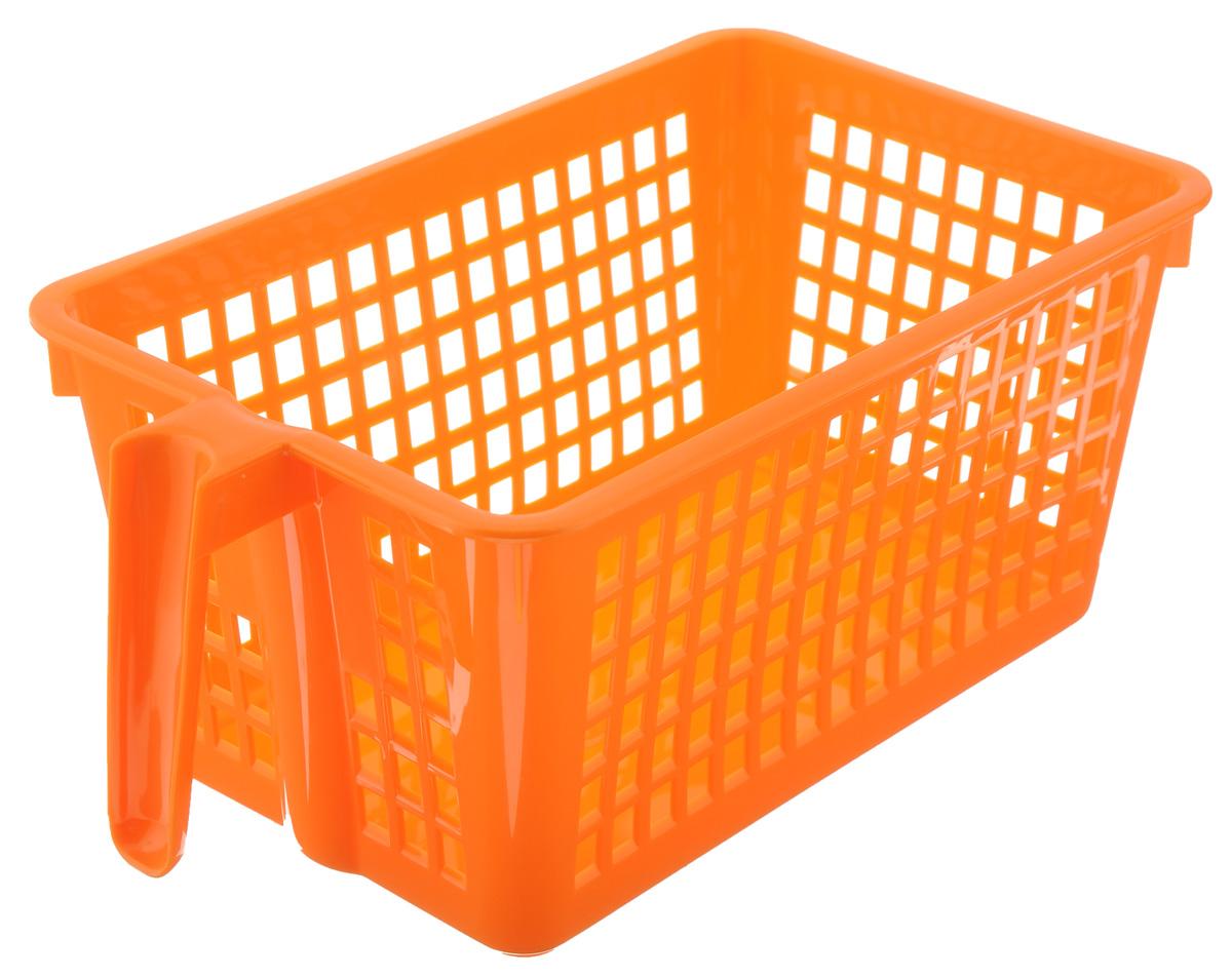 Корзинка универсальная Econova, с ручкой, цвет: оранжевый, 28 х 16 х 12 смС12568_оранжевыйУниверсальная корзинка Econova изготовлена из высококачественного пластика и предназначена для хранения и транспортировки вещей. Корзинка подойдет как для пищевых продуктов, так и для ванных принадлежностей и различных мелочей. Изделие оснащено ручкой для более удобной транспортировки. Стенки корзинки оформлены перфорацией, что обеспечивает естественную вентиляцию. Универсальная корзинка Econova позволит вам хранить вещи компактно и с удобством.