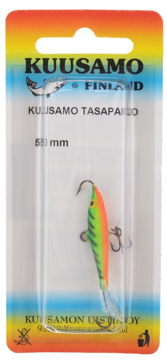Балансир Kuusamo Tasapaino, с тройником, цвет: зеленый, желтый, оранжевый, 5 см03/1/12Kuusamo Tasapaino - это классический балансир, проверенный временем. Традиционно высокое качество изготовления гарантирует улов. Балансир Kuusamo Tasapaino отлично подойдет для ловли окуня, судака, берша и щуки. Изделие комплектуется одинарными крючками и подвесным тройником.