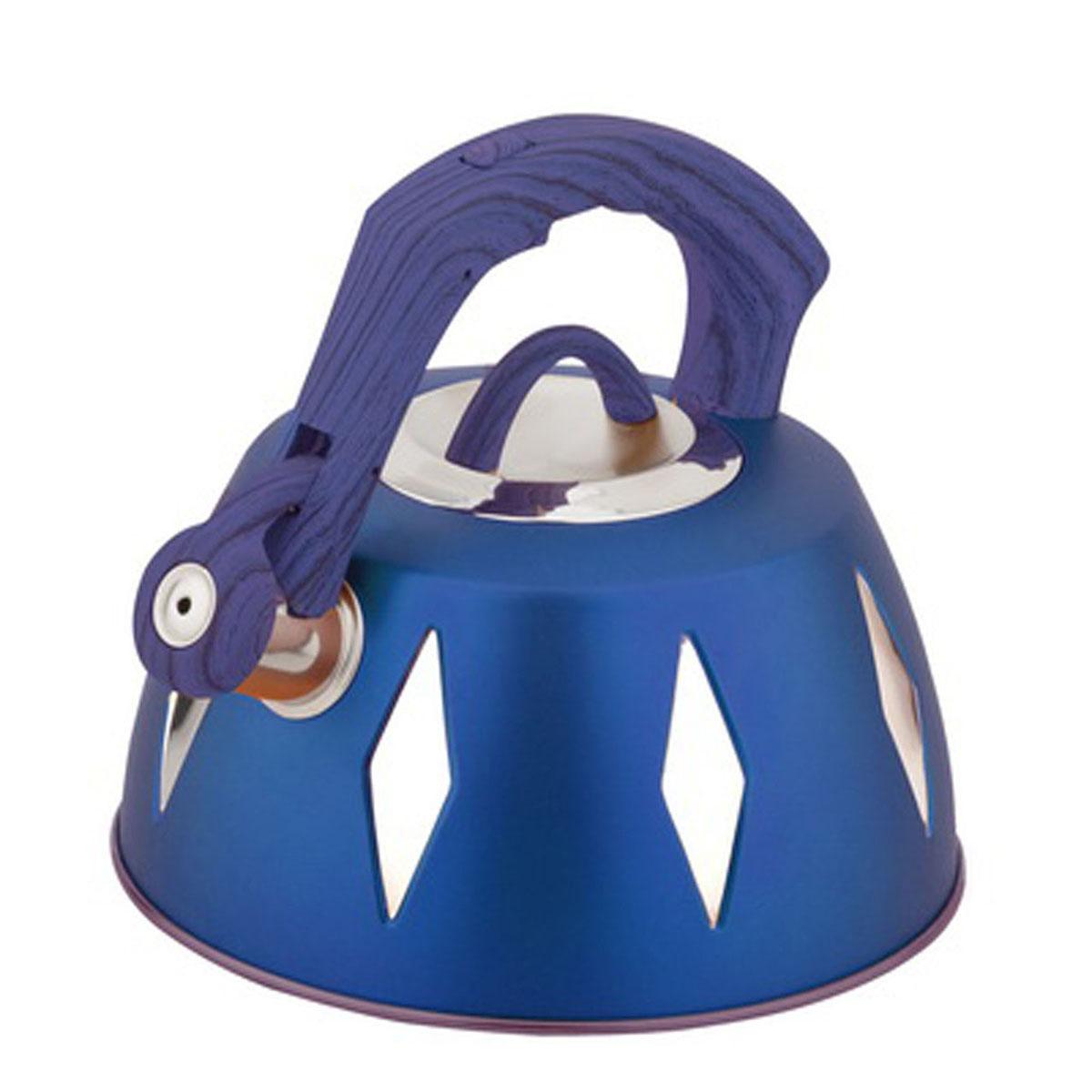 Чайник Bohmann со свистком, 3,5 л, цвет: синий9968BHNEW_синийЧайник Bohmann изготовлен из высококачественной нержавеющей стали с цветным матовым покрытием. Нержавеющая сталь - материал, из которого в течение нескольких десятилетий во всем мире производятся столовые приборы, кухонные инструменты и различные аксессуары. Этот материал обладает высокой стойкостью к коррозии и кислотам. Прочность, долговечность и надежность этого материала, а также первоклассная обработка обеспечивают практически неограниченный запас прочности и неизменно привлекательный внешний вид. Капсульное дно позволяет изделию быстро нагреваться и дольше сохранять тепло. Чайник оснащен фиксированной прорезиненной цветной ручкой, что предотвращает появление ожогов и обеспечивает безопасность использования. Носик чайника имеет откидной свисток, который подскажет, когда вода закипела. Можно использовать на газовых, электрических, галогенных, стеклокерамических, индукционных плитах. Можно мыть в посудомоечной машине. Высота чайника (без учета ручки и крышки):...