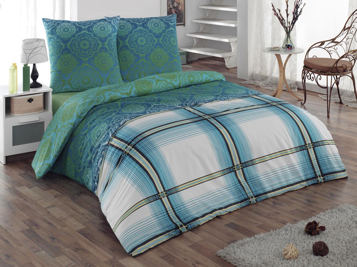 Комплект белья Tete-a-tete Classic Эффект, 2-спальный, наволочки 70x70, цвет: бирюзовый, белый, зеленыйК-8072Комплект постельного белья Tete-a-Tete Classic Эффект является экологически безопасным для всей семьи, так как выполнен из бязи (100% натурального хлопка). Комплект состоит из пододеяльника, простыни и двух наволочек. Постельное белье, оформленное изящными узорами, послужит прекрасным дополнением к интерьеру вашей спальной комнаты. Гладкая структура делает ткань приятной на ощупь, мягкой и нежной, при этом она прочная и хорошо сохраняет форму. Ткань легко гладится, не линяет и не садится. Комплект постельного белья Tete-a-Tete Classic Эффект станет отличным дополнением вашего интерьера и подарит гармоничный сон.