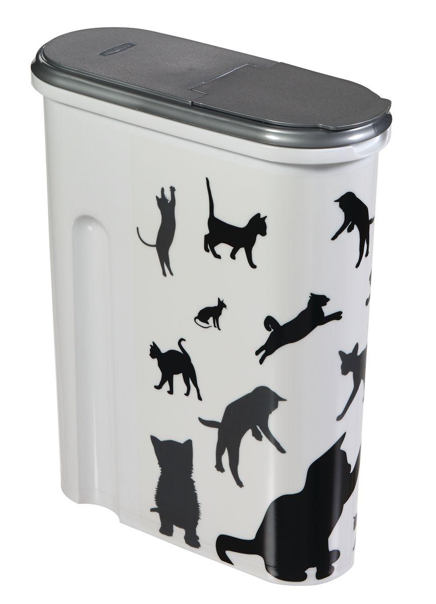 Curver PetLife Контейнер для корма Кошка, черно-белый, на 1,5кг/4,5л, 25*10*30см20235Контейнеры для хранения сухого корма, с крышкой. Одним из основных преимуществ хранения сухого корма в пластиковых контейнерах является отсутствие влаги. Влага, как известно, способствует образованию плесени!Контейнеры Curver оснащены плотно закрывающийся крышкой, что позволяет предотвратить проникновение не только влаги, но паразитов и грызунов. • Из экологически чистого пищевого пластика • Не содержат вредных примесей • Оснащен герметичной крышкой • Позволяет сохранить вкус и запах корма • Вытянутая форма контейнера делает его удобным для хранения • Сохранность органолептических показателей корма до истечения срока годности