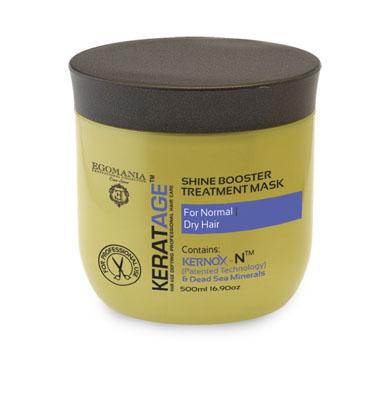 Egomania Professional Collection Маска Keratage Экстраблеск для нормальных и сухих волос 500 мл830169Маска интенсивно питает, увлажняет волосы изнутри, укрепляя их структуру и придавая естественный блеск волосам. Уникальный комплекс КЕРНОКС-N на основе минералов Мертвого моря, экстракта женьшеня, масел оливы и огуречника защищает волосы от негативного воздействия агрессивной окружающей среды, УФ лучей и замедляет процесс старения волос.Сок листьев алоэ обволакивает структуру волоса, делая ее легкой, защищенной и целостной