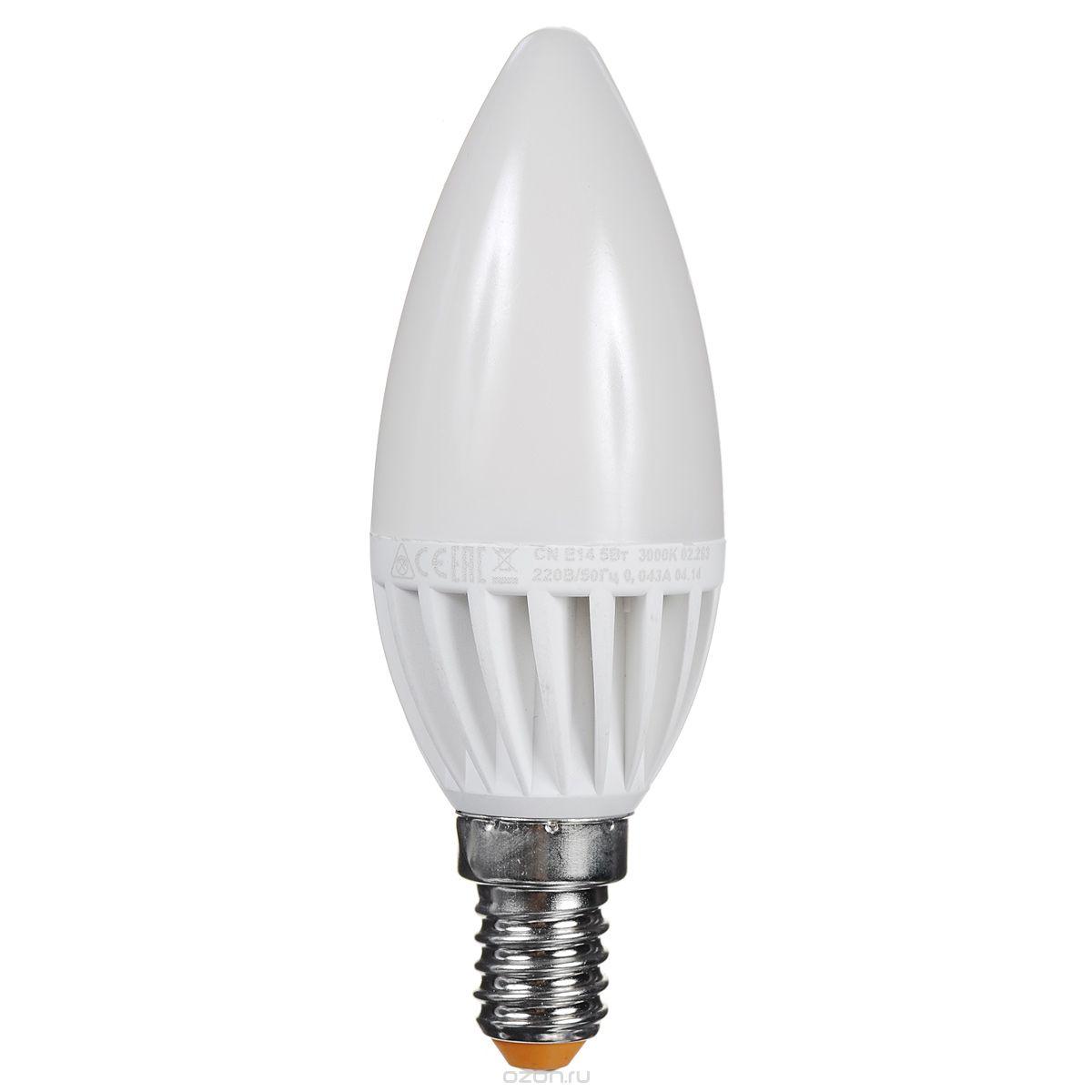 Светодиодная лампа Kosmos, теплый свет, цоколь E14, 5W, 220V, (60W)Lksm_LED5wCNE1430Светодиодная энергосберегающая лампа КОСМОС LED CN 5Вт 220В E14 3000K (Lksm LED5wCNE1430) отличается повышенной экономичностью. Практически не выделяет тепло, так как в конструкции предусмотрен керамический теплоотвод. Рекомендуется для установки в торшеры, БРА, светильники. Рабочий ресурс составляет 30 000 часов. Излучает теплый свет и заменяет лампу накаливания в 60W. Уважаемые клиенты! Обращаем ваше внимание на возможные изменения в дизайне упаковки. Качественные характеристики товара остаются неизменными. Поставка осуществляется в зависимости от наличия на складе.