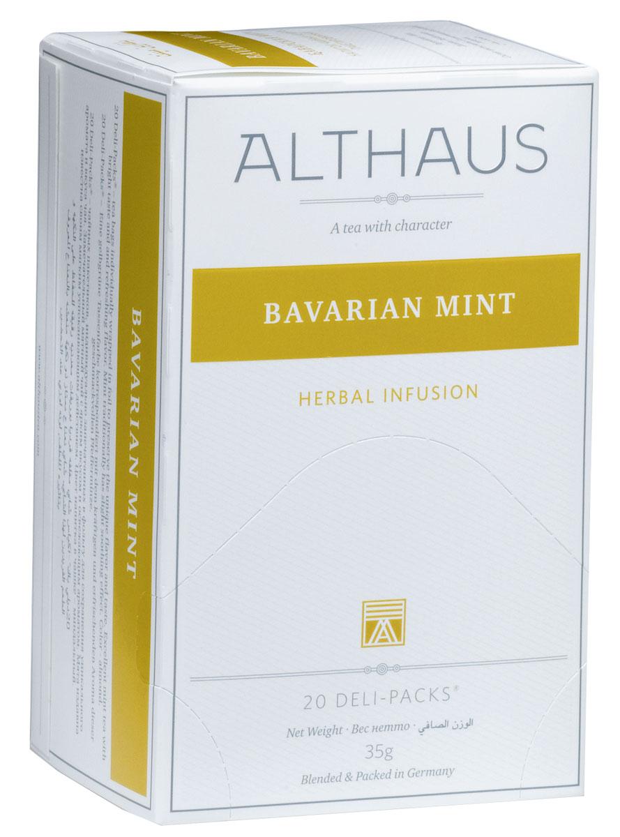 Althaus Bavarian Mint чай травяной в пакетиках, 20 шт0120710Bavarian Mint - замечательный мятный напиток с ярким травянисто-сладковатым вкусом и бодрящим ментоловым ароматом. Мята может стать замечательной добавкой к традиционному чаю. Мята — одно из древнейших лекарственных растений. Благодаря содержанию особых эфирных масел мята оказывает мягкое успокаивающее воздействие и благотворно влияет на работу головного мозга.В каждой упаковке находится по 20 пакетиков чая для чашек. Страна: Германия.Температура воды: 85-100 °С.Время заваривания: 4-5 мин.Цвет в чашке: зеленовато-коричневый.Althaus - премиальная чайная коллекция.Чай, ингредиенты и ароматизаторы для своих купажей компания Althaus получает от тщательно выбираемых чайных садов, мировых поставщиков высококачественных сублимированных фруктов и трав, а также ведущих европейских производителей ароматизаторов. Пакетик Deli Pack представляет собой порционный двухкамерный мешочек из фильтр-бумаги, запаянный в специальный термоконверт с алюминиевой фольгой. Материал конвертов, в которые запаиваются мешочки с чаем Althaus состоит из четырех слоев:белая бумага с нанесением изображенияполиэтилен пониженной плотностиалюминиевая фольгаполипропилен.Благодаря такому составу упаковка Deli Packs исключает потерю первоначального вкуса и аромата чая в процессе транспортировки и хранения. Deli Packs прекрасно подходят для:домашнего использованияресторанов самообслуживаниябанкетовзавтраков в гостиницахлюбых других случаев, когда необходимо быстро и без особых усилий заварить чашку качественного чая.