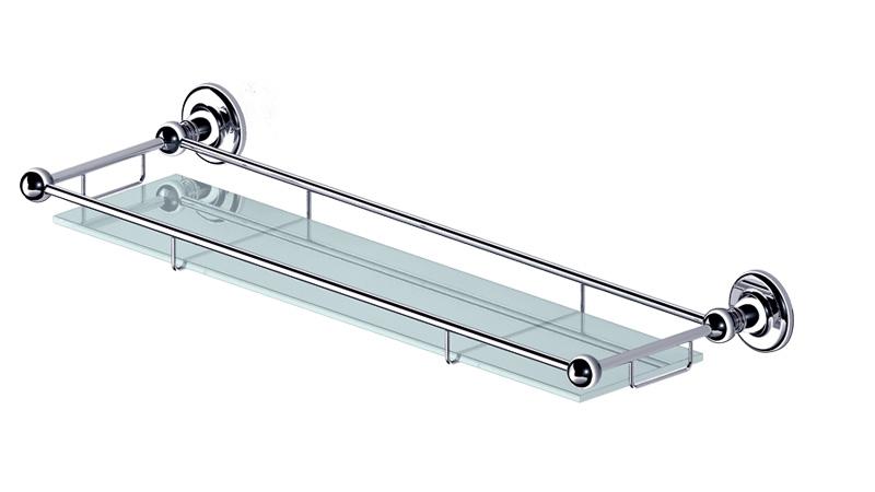 Полка для ванной Gro Welle WassermeloneWSM501Полка Gro Welle Wassermelone просто создана для современной ванной комнаты. Изделие выполнено из высококачественной латуни и стекла. Хромоникелевое покрытие Crystallight придает изделию яркий металлический блеск и эстетичный внешний вид. Имеет водоотталкивающие свойства, благодаря которым защищает изделие. Покрытие устойчиво к кислотным и щелочным чистящим средствам. Стильная и элегантная, эта полка позволит вам сэкономить место и уместить гораздо больше вещей, чем вы можете предположить. Полка крепится к стене при помощи шурупов (входят в комплект). Ширина полки: 60 см. Высота полки: 6,45 см. Отступ от стены: 18,8 см.
