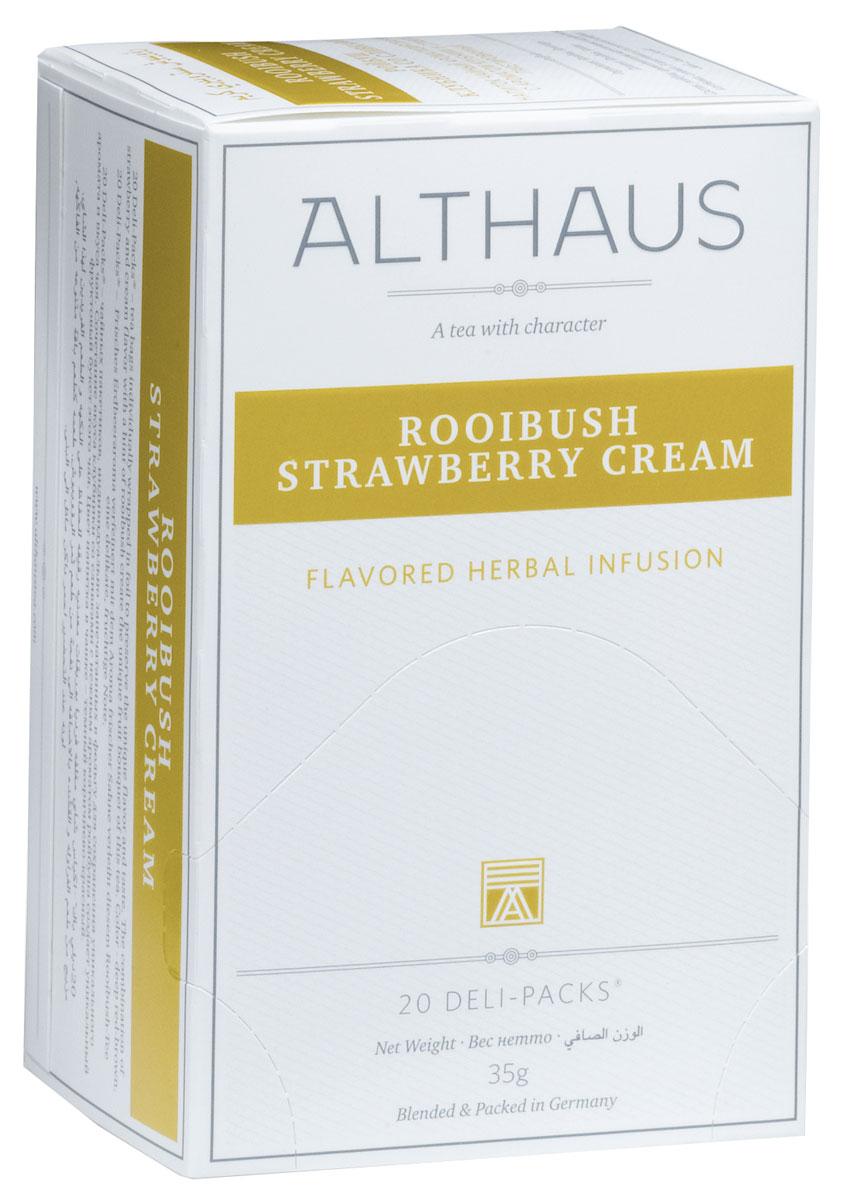 Althaus Rooibush Strawberry Cream фруктовый чай в пакетиках, 20 штTALTHB-DP0027Rooibush Strawberry Cream - это превосходное сочетание вкуса спелой клубники, воздушных сливок и нежного аромата отборных листьев ройбуша. Ройбуш — это экзотический напиток из Южной Африки, который не содержит кофеина и исключительно полезен для здоровья. Ройбуш Клубника со Сливками прекрасно подходит к различным десертам. В каждой упаковке находится по 20 пакетиков чая для чашек. Страна: ЮАР. Температура воды: 85-100 °С. Время заваривания: 4-5 мин. Цвет в чашке: насыщенный красно-коричневый. Althaus - премиальная чайная коллекция. Чай, ингредиенты и ароматизаторы для своих купажей компания Althaus получает от тщательно выбираемых чайных садов, мировых поставщиков высококачественных сублимированных фруктов и трав, а также ведущих европейских производителей ароматизаторов. Пакетик Deli Pack представляет собой порционный двухкамерный мешочек из фильтр-бумаги, запаянный в специальный термоконверт с алюминиевой фольгой. Материал...