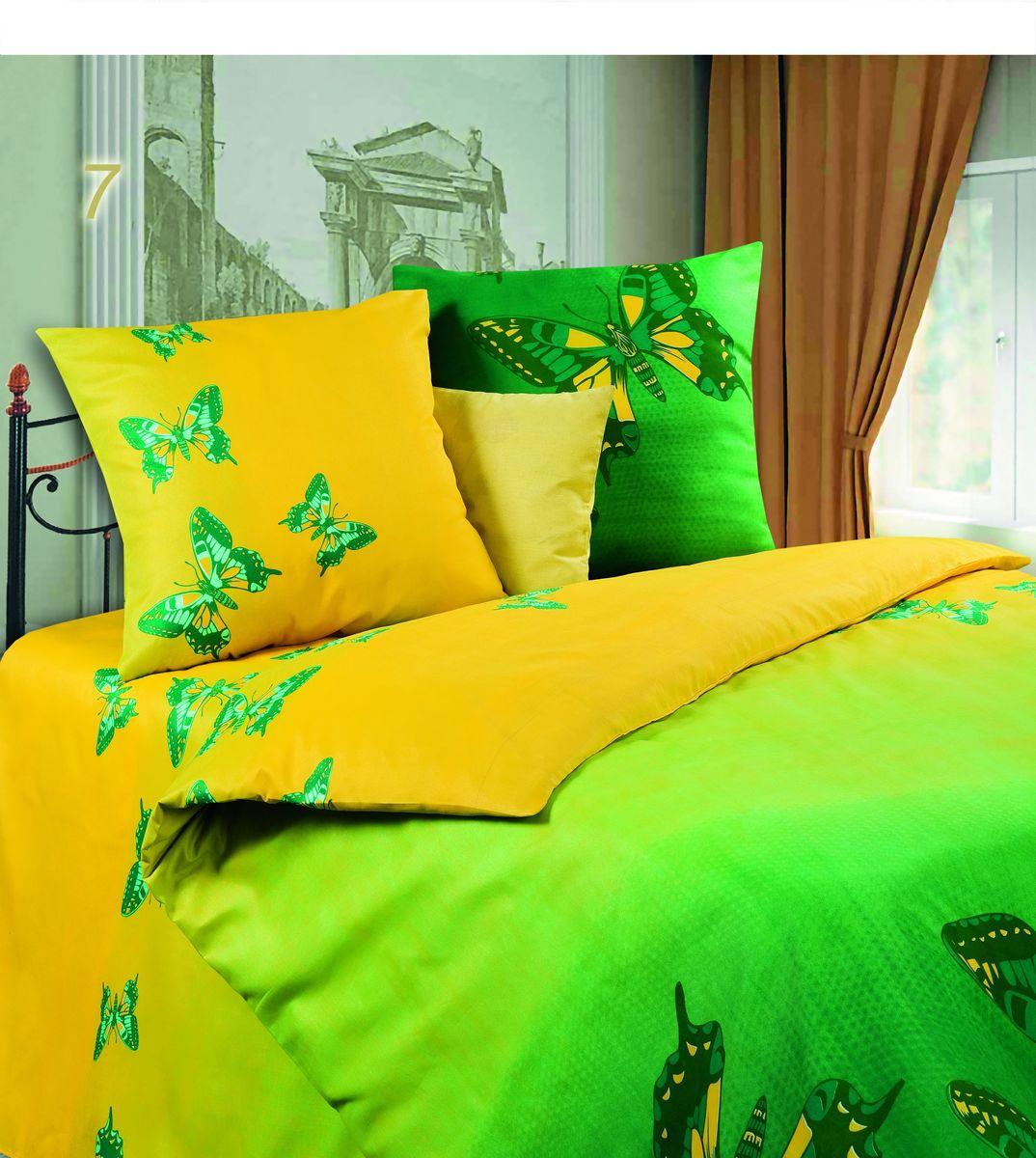 Комплект белья Диана Мгновение, семейный, наволочки 70х70, цвет: желтый, зеленый. PW-7-143-220-69PW-7-143-220-69Комплект постельного белья Диана Мгновение, изготовленный из микрофибры, поможет вам расслабиться и подарит спокойный сон. Ткань микрофибра - новая технология в производстве постельного белья. Тонкие волокна, используемые в ткани, производят путем переработки полиамида и полиэстера. Такая нить не впитывает влагу, как хлопок, а пропускает ее через себя, и влага быстро испаряется. Ткань не деформируется и хорошо держит форму, не скатывается, быстро высыхает и устойчива к световому воздействию. Изделия не мнутся и хорошо сохраняют первоначальную форму. Постельное белье оформлено изображением бабочек, имеет изысканный внешний вид и обладает яркостью и сочностью цвета. Комплект состоит из двух пододеяльников, простыни и двух наволочек. Благодаря такому комплекту постельного белья вы сможете создать атмосферу уюта и комфорта в вашей спальне.