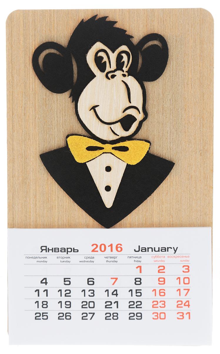 Календарь на магните Караван-СТ Обезьяна с галстуком-бабочкой (2016 год)UP210DFКалендарь на магните Караван-СТ Обезьяна с галстуком-бабочкой изготовлен из шпона и бумаги. Изделие оформлено забавной фигуркой обезьяны с галстуком-бабочкой, выполненной из фетра. На оборотной стороне имеется магнит, благодаря чему вы сможете разместить календарь на холодильнике или на другой металлической поверхности. Такой оригинальный календарь на 2016 год станет приятным и необычным подарком родным и близким!Материал: шпон, бумага, фетр.