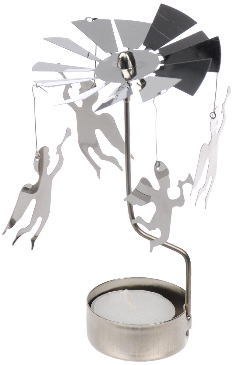 Вертушка с чайной свечой Gardman АнгелUP210DFВертушка с чайной свечой Gardman Ангел станет отличным дополнением интерьера и создаст праздничное настроение в вашем доме. Изделие выполнено из нержавеющей стали в виде вертушки, на которую подвешиваются ангелочки. Декоративные ангелочки вращаются благодаря горению свечи. Свеча входит в комплект.Диаметр вертушки: 8 см.Высота изделия: 14 см.