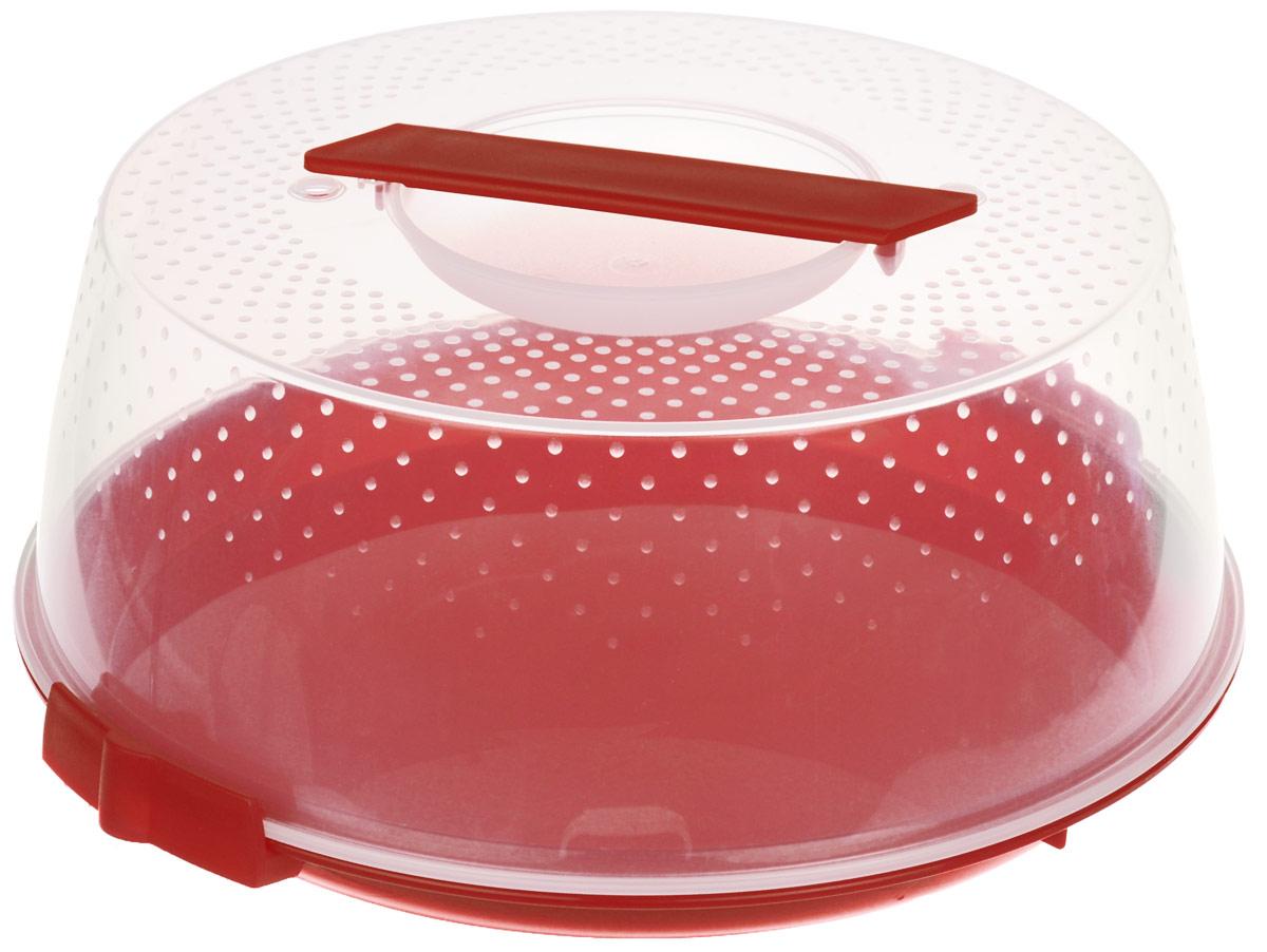 Тортница Cosmoplast Оазис, цвет: красный, прозрачный, диаметр 28 см2127_красныйТортница Cosmoplast Оазис изготовлена из высококачественного прочного пищевого пластика. Тортница имеет удобную ручку для переноски и прочные фиксаторы крышки. Может использоваться в микроволновой печи и морозильной камере (выдерживает температуру от -30°С до +110°С). Очень гигиенична и легко моется. Можно мыть в посудомоечной машине. Диаметр тортницы: 28 см. Внутренний диаметр тортницы: 26 см. Высота тортницы: 12 см.