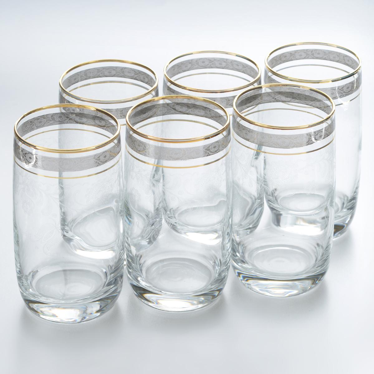 Набор стаканов для коктейлей Гусь-Хрустальный Нежность, 330 мл, 6 штTL34-809Набор Гусь-Хрустальный Нежность состоит из 6 высоких стаканов, изготовленных из высококачественного натрий-кальций-силикатного стекла. Изделия оформлены красивым зеркальным покрытием и прозрачным орнаментом. Стаканы предназначены для подачи коктейлей, а также воды и сока. Такой набор прекрасно дополнит праздничный стол и станет желанным подарком в любом доме. Разрешается мыть в посудомоечной машине. Диаметр стакана (по верхнему краю): 6,3 см. Высота стакана: 12,8 см.