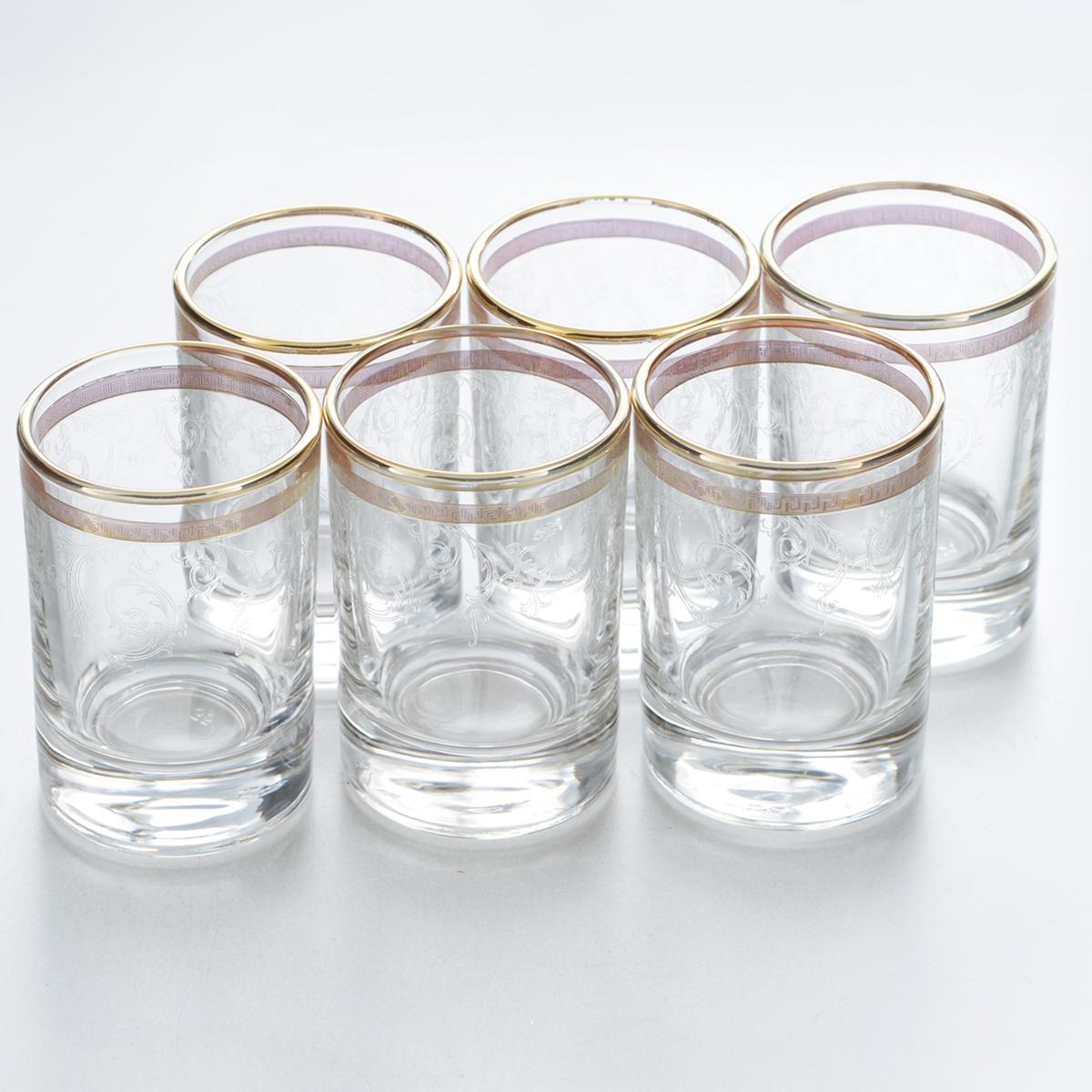 Набор стопок Гусь-Хрустальный Каскад, 60 мл, 6 штVT-1520(SR)Набор Гусь-Хрустальный Каскад состоит из 6 стопок, изготовленных из высококачественного натрий-кальций-силикатного стекла. Изделия оформлены красивым зеркальным покрытием, оригинальной окантовкой и прозрачным орнаментом. Такой набор прекрасно дополнит праздничный стол и станет желанным подарком в любом доме. Разрешается мыть в посудомоечной машине. Диаметр стопки (по верхнему краю): 4,5 см. Высота стопки: 6,6 см.