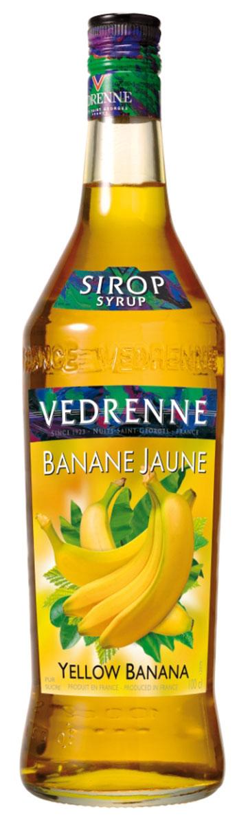 Vedrenne Желтый Банан сироп, 1 л0120710Фруктовый сироп Желтый банан – это универсальная сладкая добавка, которую можно использовать как для приготовления блюд, так и для напитков.Сиропы изготавливаются на основе натурального растительного сырья, фруктовых и ягодных соков прямого отжима, цитрусовых настоев, а также с использованием очищенной воды без вредных примесей, что позволяет выдержать все ценные и полезные свойства натуральных фруктово-ягодных плодов и трав. В состав сиропов входит только натуральный сахар, произведенный по традиционной технологии из сахарозы. Благодаря высокому содержанию концентрированного фруктового сока, сиропы Vedrenne обладают изысканным ароматом и натуральным вкусом, являются эффективным подсластителем при незначительной калорийности. Они оптимизируют уровень влажности и процесс кристаллизации десертов, хорошо смешиваются с другими ингредиентами и способствуют улучшению вкусовых качеств напитков и десертов.Сиропы Vedrenne разливаются в стеклянные бутылки с яркими этикетками, на которых изображен фрукт, ягода или другой ингредиент, определяющий вкусовые оттенки того или иного продукта Vedrenne. Емкости с сиропами Vedrenne герметичны, поэтому не позволяют содержимому контактировать с микроорганизмами и другими губительными внешними воздействиями. Кроме того, стеклянные бутылки выглядят оригинально и стильно.В настоящее время компания Vedrenne считается одним из лучших производителей высококлассных сиропов, отличающихся натуральным вкусом, а также насыщенным ароматом и глубоким цветом. Фруктовые сиропы Vedrenne пользуются большой популярностью не только во Франции (где их широко используют как в сегменте HoReCa, так и в домашних условиях), но и экспортируются более чем в 50 стран мира. Цвет: золотисто-желтыйАромат: насыщенный, натуральный, фруктовый, со сливочными нотамиВкус: выразительный, нежный, сладкий вкус спелого бананаРецепт коктейля Банановый ЛимонадИнгредиенты:10 мл сиропа Vedrenne Желтый Банан;10 мл лимонного сока;лимонад доверху