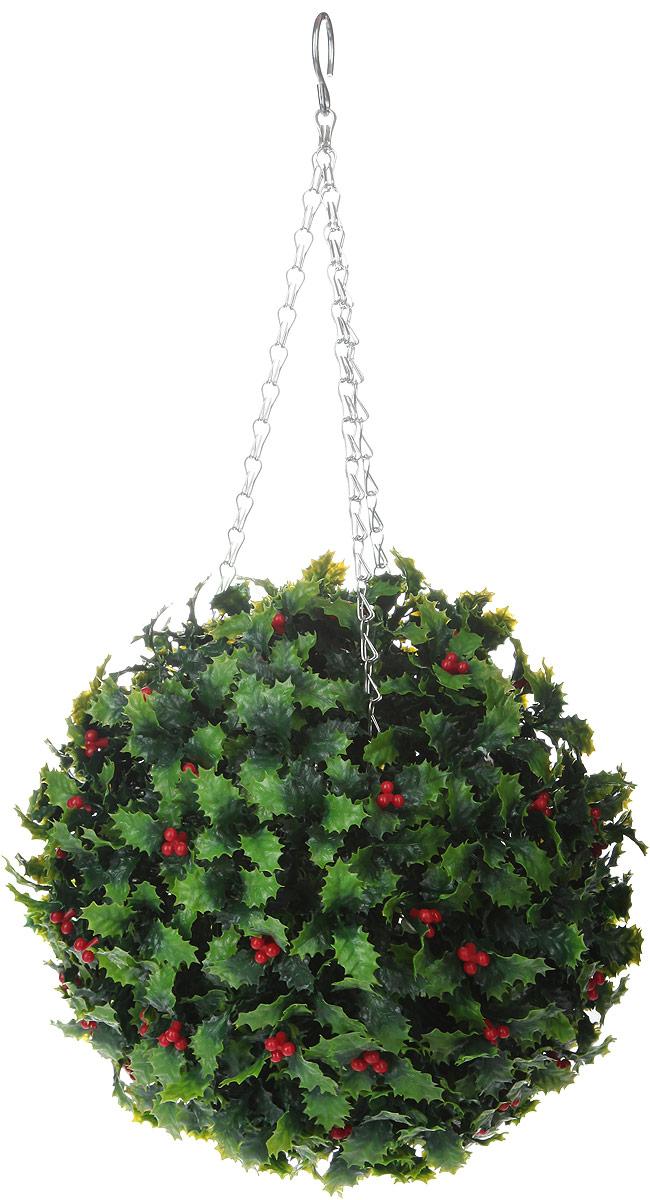 Искусственное растение Gardman Topiary Ball. Омела, цвет: зеленый, красный, диаметр 26 смKT415EИскусственное растение Gardman Topiary Ball. Омела выполнено из пластика в виде шара. Листья растения имитируют омелу. К растению прикреплены три цепочки с крючком, за который его можно повесить в любое место. Также растение можно поместить в горшок. Растение устойчиво к воздействиям внешней среды, таким как влажность, солнце, перепады температуры, не выцветает со временем. Искусственное растение Gardman Topiary Ball. Омела великолепно украсит интерьер офиса, дома или сада. Диаметр шара: 26 см.Длина цепочки: 34 см.